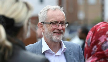 Labour leader Jeremy Corbyn during campaigning ahead of next week's local elections in Peterborough, England. Saturday April 27, 2019.