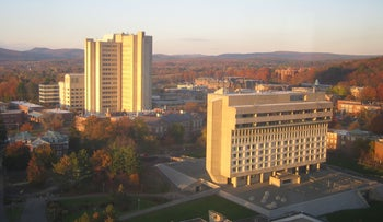 File photo: UMass at Amherst, picture taken from the W.E.B. Dubois Library.