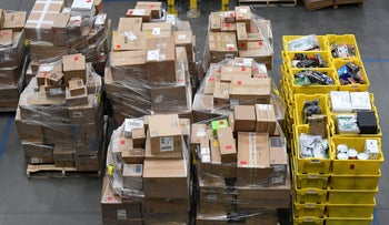 Products in the prep area are seen at the Amazon fulfilment center in Baltimore, Maryland, U.S., April 30, 2019.