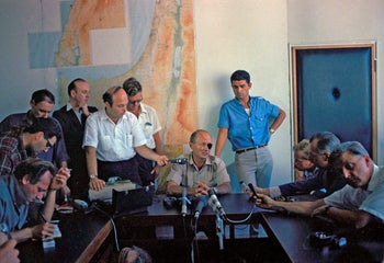 Former defense minister Moshe Dayan during the Six-Day war, 1967.