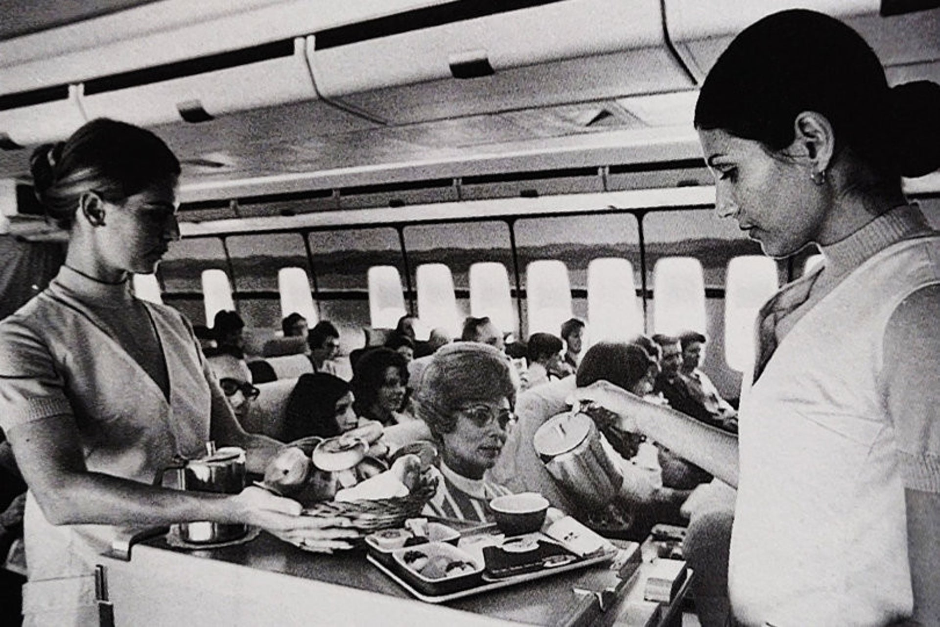 Food being served on an El Al 747 aircraft in the 1970s.