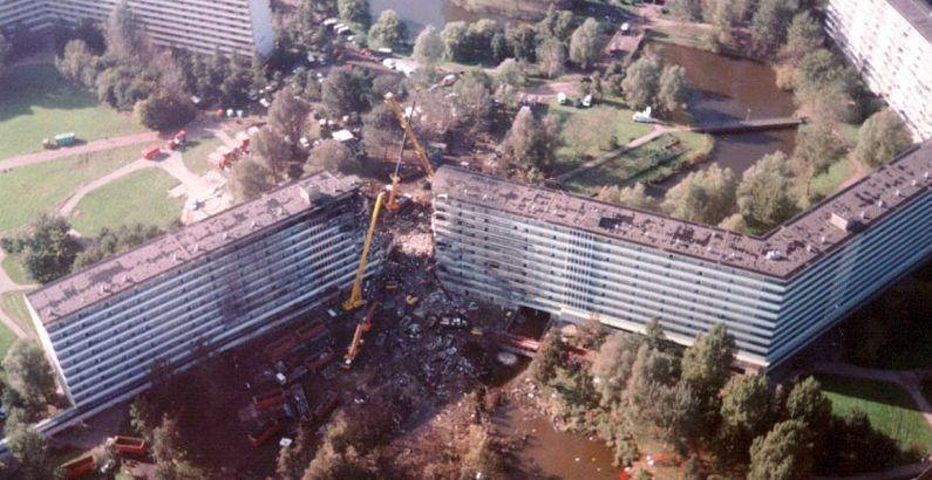 Aftermath of the disaster after El Al Flight 1862 crashed into an Amsterdam apartment block in October 1992.