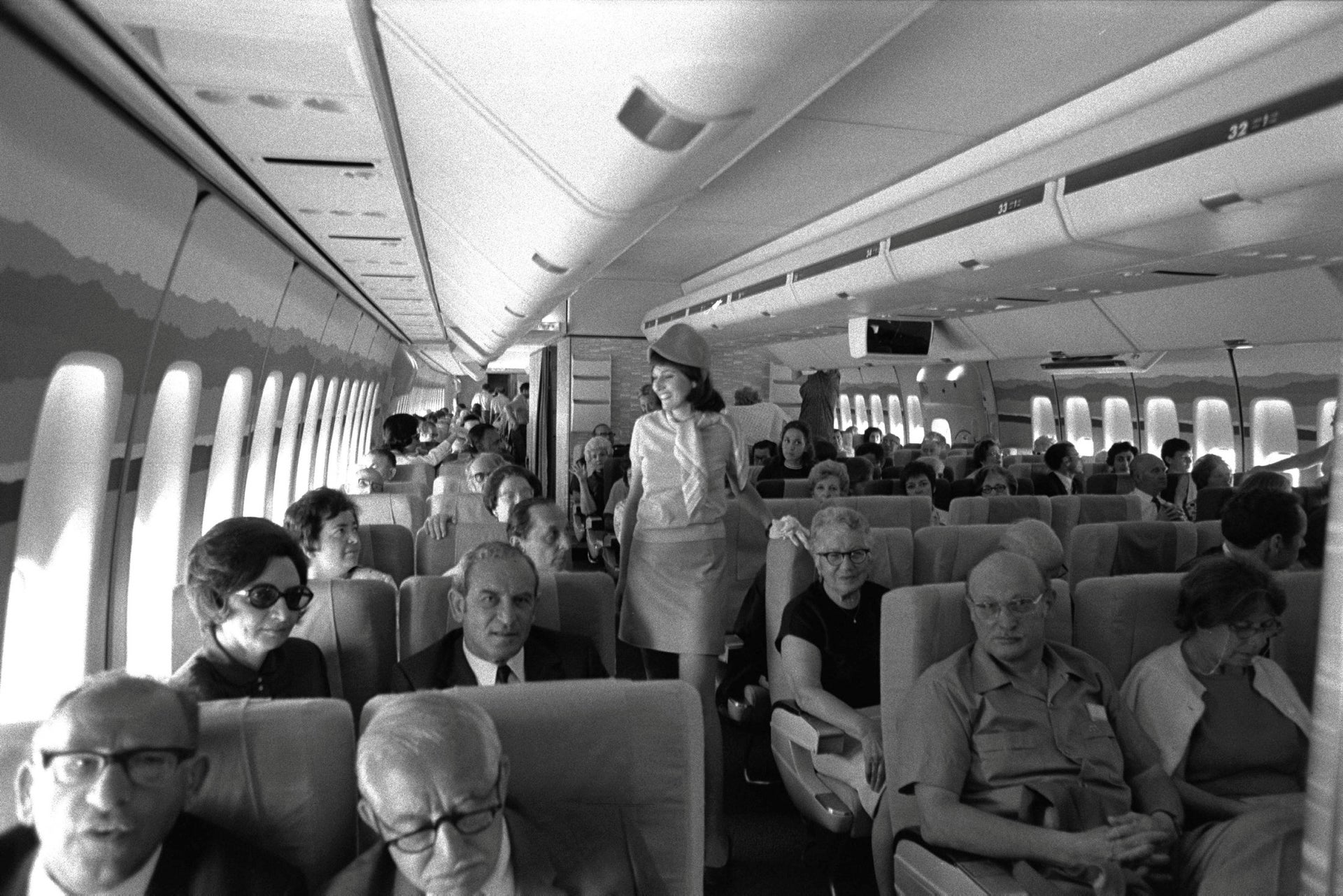 Passengers onboard El Al's 747 aircraft before the first commercial flight to New York, July 1971.