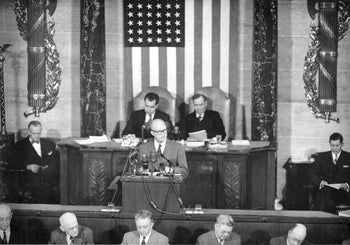 President Dwight Eisenhower delivers his first State of the Union Address before a joint session of Congress in Washington D.C.. Feb. 2, 1953