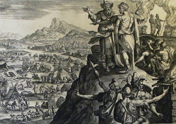 Balak (wearing a crown) from the Phillip Medhurst Collection of Bible illustrations
