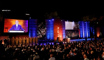 Prime Minister Benjamin Netanyahu speaks during the opening ceremony of the annual Israeli Holocaust Remembrance Day at the Yad Vashem World Holocaust Remembrance Center in Jerusalem, May 1, 2019.