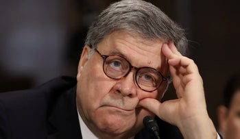 U.S. Attorney General William Barr testifies before the Senate Judiciary Committee May 1, 2019 in Washington, DC.