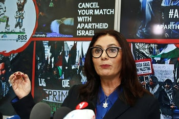Israeli Culture and Sports Minister Miri Regev speaking during a press conference following the cancellation of the game between the Israeli and Argentine national soccer teams