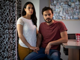 Asil Baidoun and her husband Amir Malhis in their home in the Palestinian neighborhood of Kafr 'Aqab, East Jerusalem, May 2, 2019.