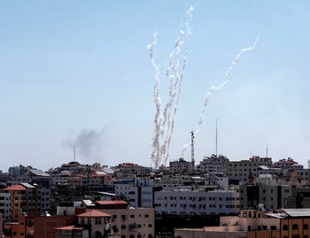 A picture taken from the Gaza Strip on May 4, 2019 shows missiles being launched toward Israel.
