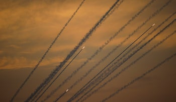 Rockets are launched from Gaza Strip to Israel, Sunday, May 5, 2019.