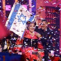 Netta Barzilay, Israel's entry, celebrates after winning the Eurovision Song Contest grand final in Lisbon, Portugal on May 12, 2018 ensuring the 2019 contest would be held in Israel
