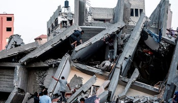The remains of a building in Gaza City after it was hit during Israeli air strikes, May 5, 2019