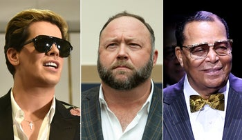 L to R: Right-wing British provocateur Milo Yiannopoulos, conspiracist InfoWars founder Alex Jones and Nation of Islam head Louis Farrakhan, all banned by Facebook on May 2, 2019 in a crackdown on hate content