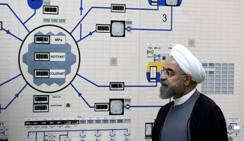President Hassan Rouhani visits the Bushehr nuclear power plant just outside the port city of Bushehr, southern Iran, Tuesday, Jan. 13, 2015.