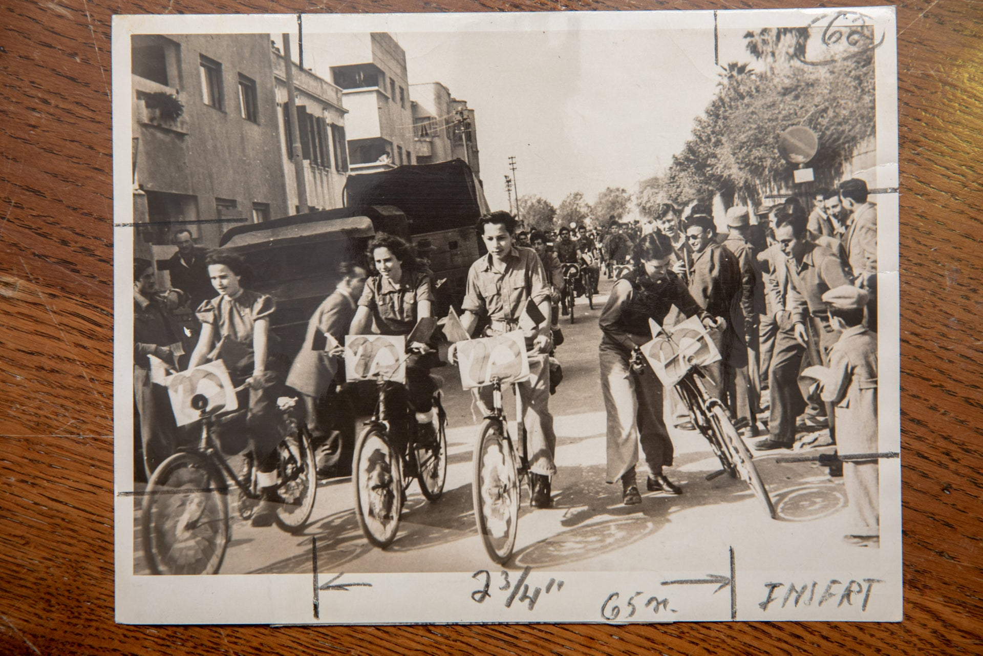 The United Labor Party youth movement campaign for their party on bicycles in Tel Aviv February 1 1949.