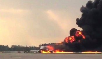 This handout grab of a video obtained from the Instagram account of Mikhail Norenko on May 5, 2019, shows a fire of a Russian-made Superjet-100 at Sheremetyevo airport outside Moscow