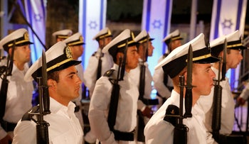 Israeli soldiers attend the official Memorial Day ceremony at the Western Wall, Jerusalem, May 7, 2019.