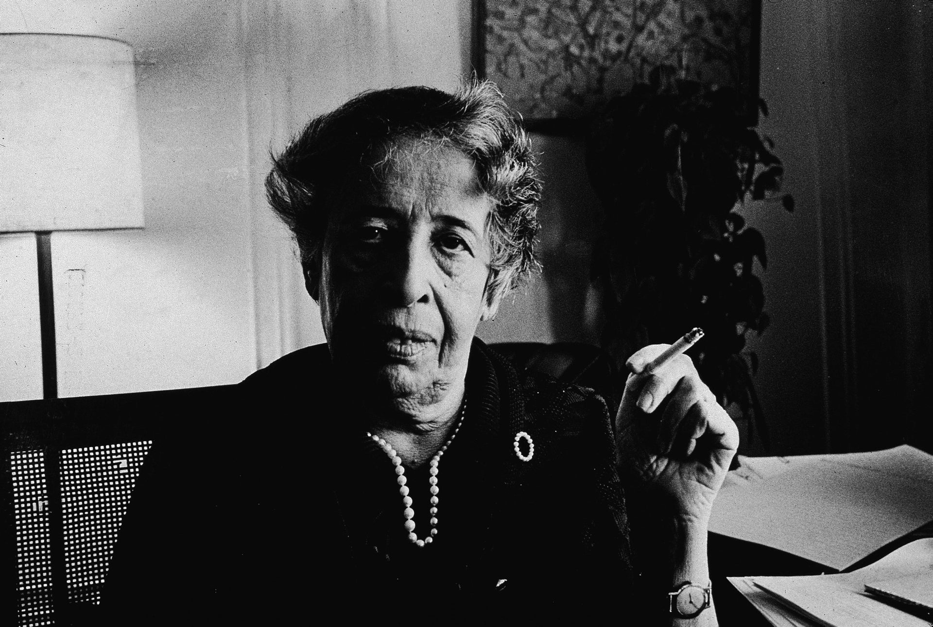 Hannah Arendt smokes a cigarette at her apartment in New York, April 21, 1972.