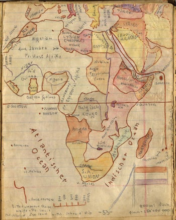 A map in Keler's diary tracking his family's expulsion to Mauritius.