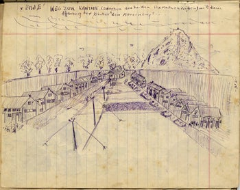 A sketch in Arie Keler's diary from the War of Independence.