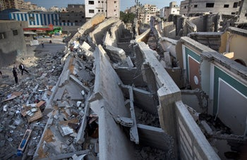 A multi-story building that was hit and destroyed by Israeli airstrikes, Gaza City, Monday, May. 6, 2019.