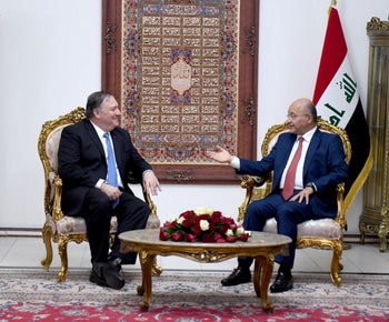 Iraq's President Barham Salih meets with U.S. Secretary of State Mike Pompeo in Baghdad, Iraq May 7, 2019.
