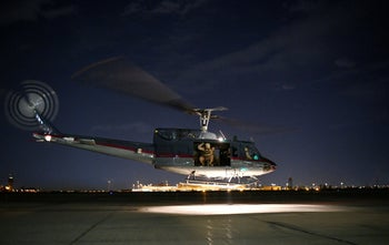 A helicopter carrying U.S. Secretary of State Mike Pompeo takes off from Baghdad International Airport in Baghdad, Iraq May 7, 2019.