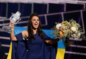 Ukraine's Jamala smiles after winning the 2016 Eurovision Song Contest final at the Ericsson Globe Arena in Stockholm, Sweden, Sunday, May 15, 2016.