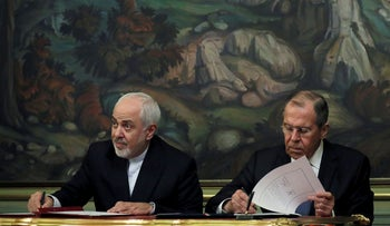 Iranian Foreign Minister Mohammad Javad Zarif, left, and his Russian counterpart Sergey Lavrov in Moscow, May 8, 2019.