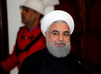 Iranian President Hassan Rohani at a news conference in Baghdad, March 11, 2019.
