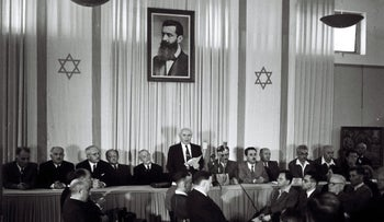 FILE Photo: David Ben-Gurion reads the Declaration of Independence of the state of Israel, 1948.