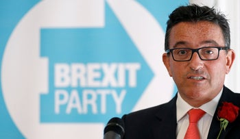 Lance Forman, a candidate of Brexit party, speaks during a news conference by the 'Brexit Party' campaign for the European elections, in London, Britain April 23, 2019.
