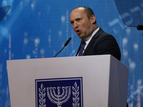 Israel's Education Minister Naftali Bennett speaks at the Israel Prize ceremony in Jerusalem, May 9, 2019.