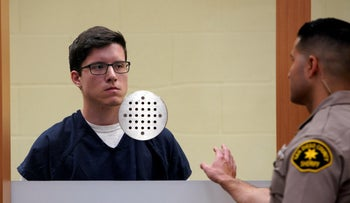 John T. Earnest, left, appears for his arraignment hearing, April 30, 2019, in San Diego.