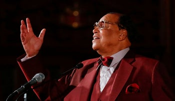 File Photo: Nation of Islam leader Louis Farrakhan speaks about his ousting from Facebook at St. Sabina Catholic Church in Chicago, Illionis, May 9, 2019.