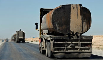 File Photo: Trucks carrying oil in Hassakeh province, Syria, April 2018.