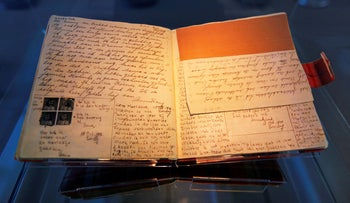 File photo: The first diary of Anne Frank sits on display in the Anne Frank House in Amsterdam, April 28, 2010.