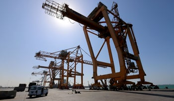 FILE PHOTO: A view of cranes at the container terminal at the Red Sea port of Hodeidah, Yemen, January 5, 2019.