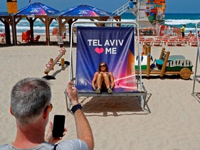 Chairs advertising the Eurovision Song Contest on a Tel Aviv beach, May 7, 2019.