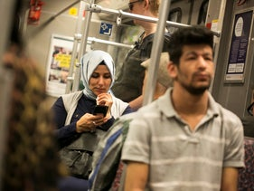 A Muslim woman rides the train in Berlin, Germany, June 6, 2018.
