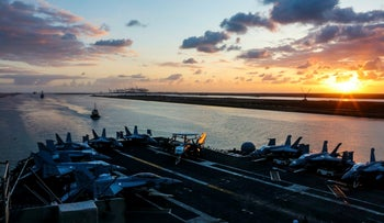 Nimitz-class aircraft carrier USS Abraham Lincoln transits the Suez Canal in Egypt, May 9, 2019