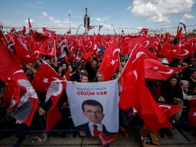Supporters listen to Ekrem Imamoglu after he was declared the new mayor of Istanbul and before his election victory was annulled. Istanbul, Turkey, April 21, 2019