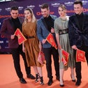 Contestants from Montenegro pose during the orange carpet as the Eurovision Song Contest begins, Tel Aviv, May 12, 2019.