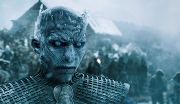 A scene showing the Night King in the final season of Games of Thrones