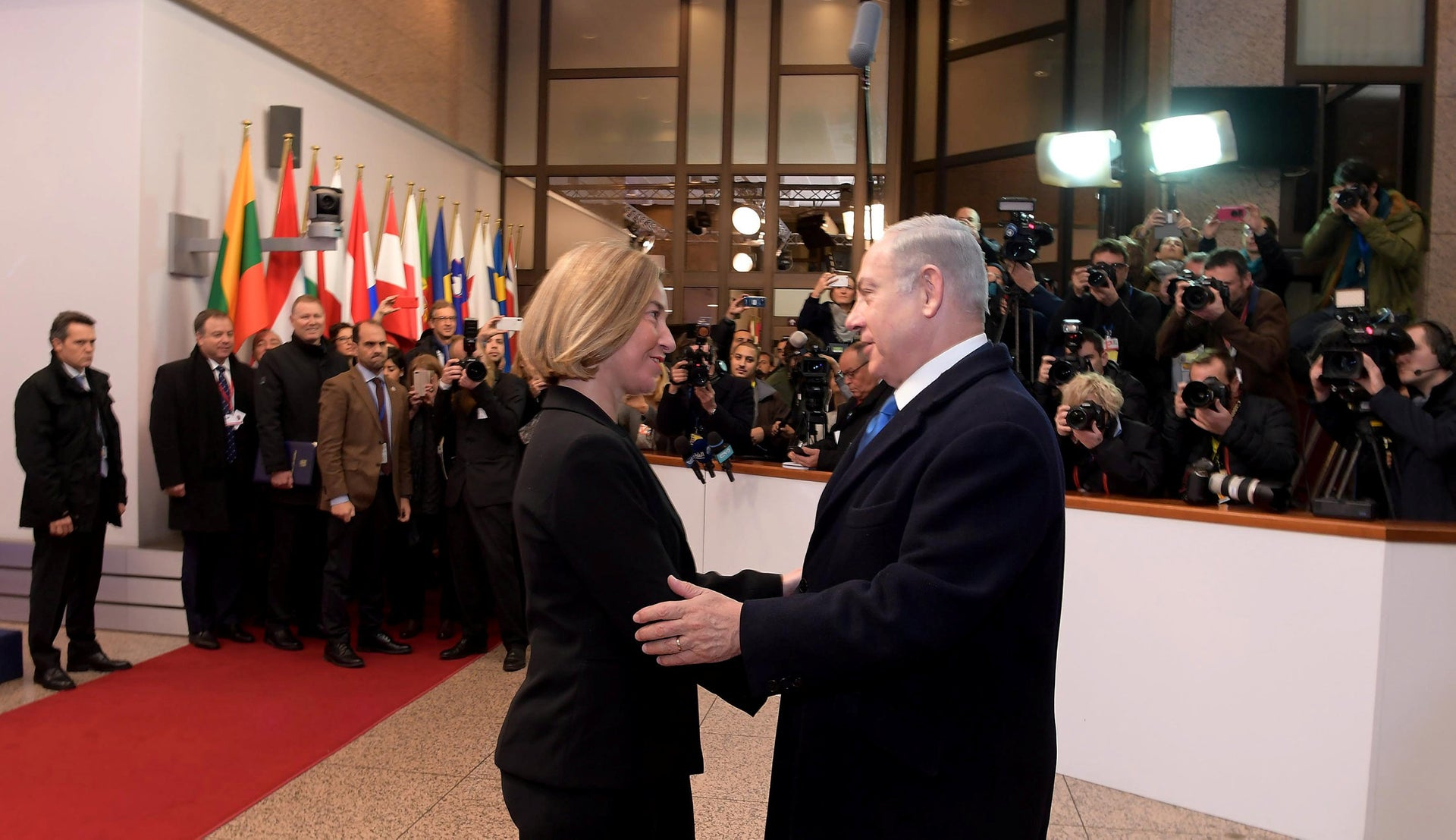 European Union foreign policy chief Federica Mogherini meeting with Prime Minister Benjamin Netanyahu in Brussels, December 2017.