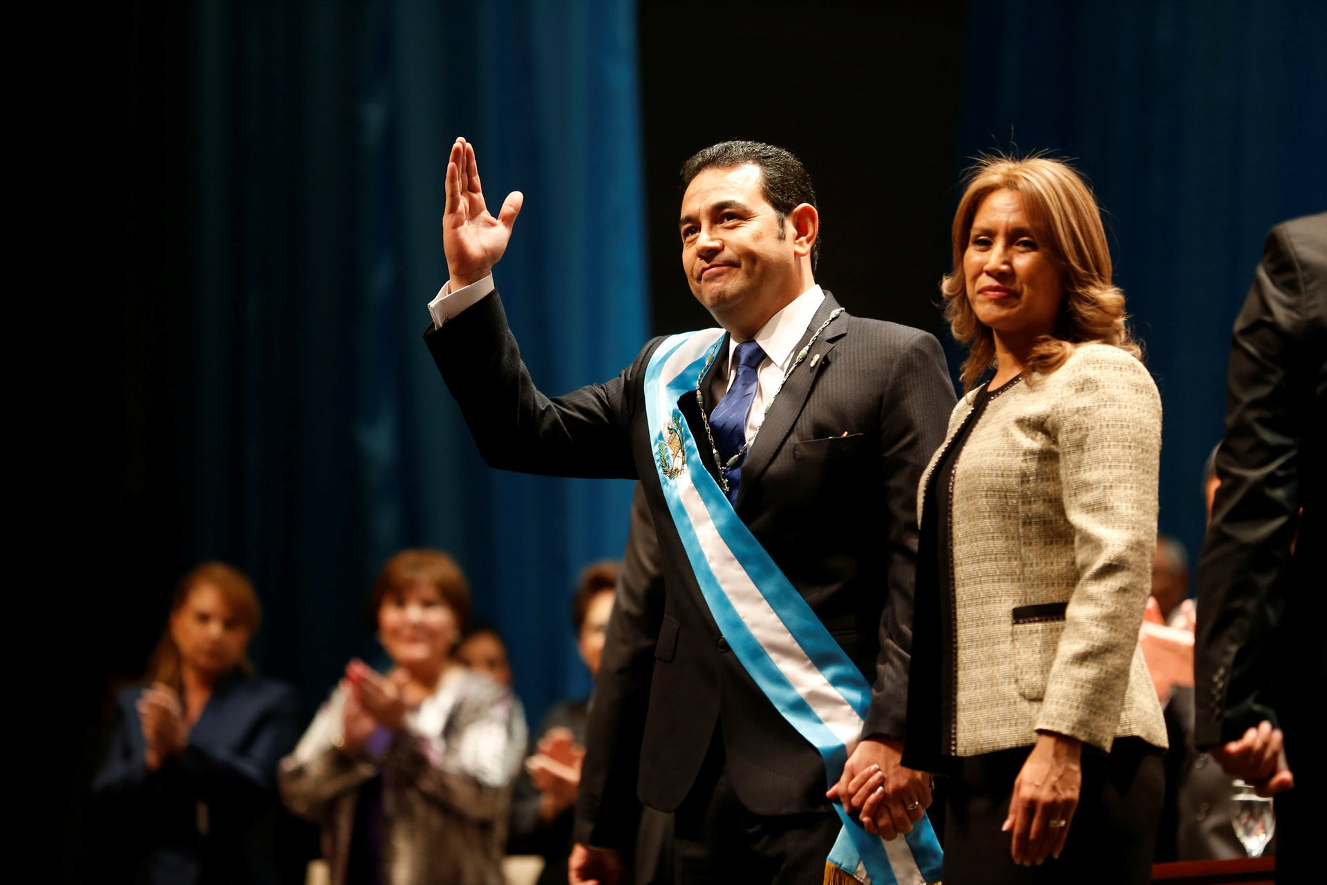 Hilda Patricia Marroquin de Morales accompanies her husband Guatemalan President Jimmy Morales, at the National Theater in Guatemala City.