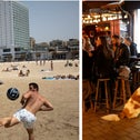 Left to right: A lighthouse in Jaffa, a beach in Tel Aviv, and a bar on Tel Aviv's Dizengoff Street.