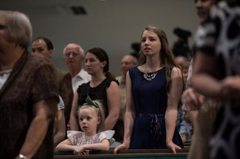 Christian evangelicals attend Sunday service at First Baptist North church in Spartanburg, South Carolina, on September 18, 2016.