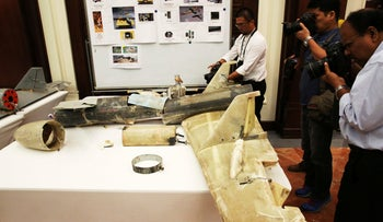 An Iranian Qatef drone captured on the battlefield in Yemen during a news conference in Abu Dhabi, United Arab Emirates on June 19, 2018.